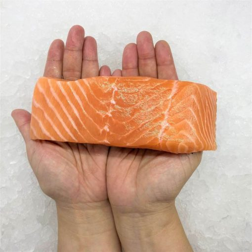 Air Flown Norway Fresh Salmon Fillet Portioned Boneless Skin On 200g Hand
