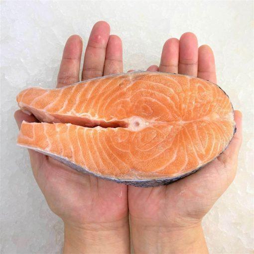 Air Flown Norway Fresh Salmon Steak Cut Cutlet With Skin Bone In 250g Hand