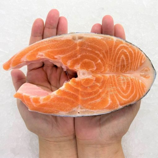 Air Flown Norway Fresh Trout Steak Cut Cutlet With Skin And Bone In 250g Hand