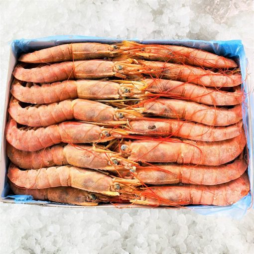 Frozen Argentina Red Shrimps Whole Head On Raw Large 2kg Pack Inside