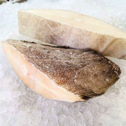Frozen Norway Greenland Halibut Cutlet Skin On Bone In 500g Unpack Side