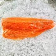 Frozen Norway Salmon Trout Fillet Whole Boneless Skin On 1.4kg Unack Meat