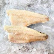 Frozen Sea Bass Mediterranean Fillet Portioned Skin On Boneless 160g X2 Pack Meat Side