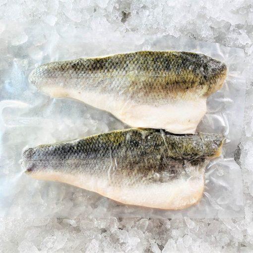 Frozen Sea Bass Mediterranean Fillet Portioned Skin On Boneless 160g X2 Pack Skin Side