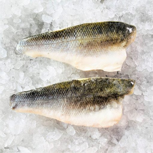Frozen Sea Bass Mediterranean Fillet Portioned Skin On Boneless 160g X2 Unpack Skin Side