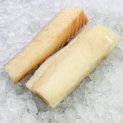 Frozen Norway Haddock Loin Boneless Skin On 300g 150g X2 Unpack Meat Diagonally