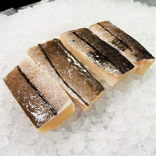 Frozen Norway Haddock Loin Boneless Skin On 600g 150g X4 Unpack Diagonally
