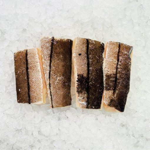 Frozen Norway Haddock Loin Boneless Skin On 600g 150g X4 Unpack Skin