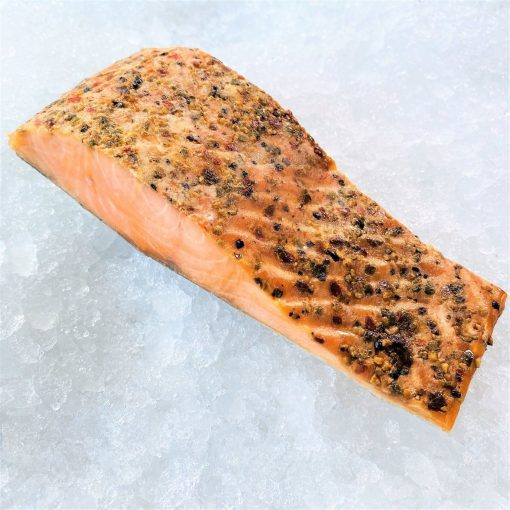 Frozen Norway Singapore Smoked Salmon Hotsmoked Peppermix 250g Unpacked Diagonally