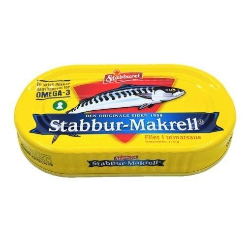 Scandinavian Goodies Preserved Mackerel Fillet In Tomato Stabburet Front Diagonally