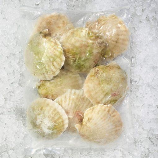 Frozen Shell China Half Shell Scallops 9 10pcs Packed Shell Side