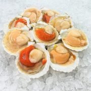 Frozen Shell China Half Shell Scallops 9 10pcs Unpack Diagonally Round