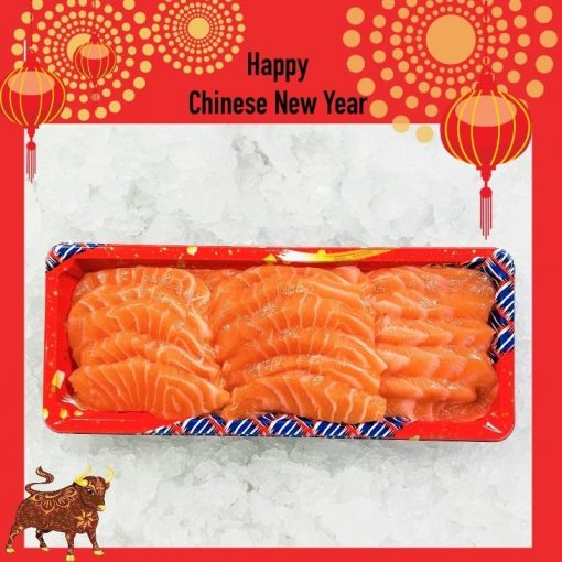 Air Flown Fresh Norway Salmon Sashimi Cut 250g Unpacked Front Cny
