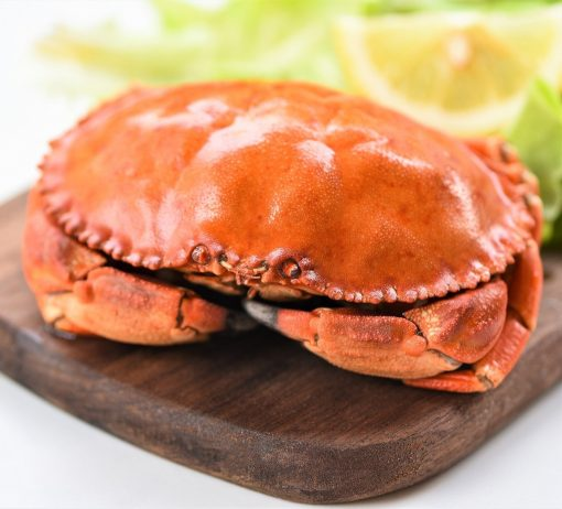 Crab Cooked Steam Or Boiled With Lemon And Lettuce Salad Vegetab